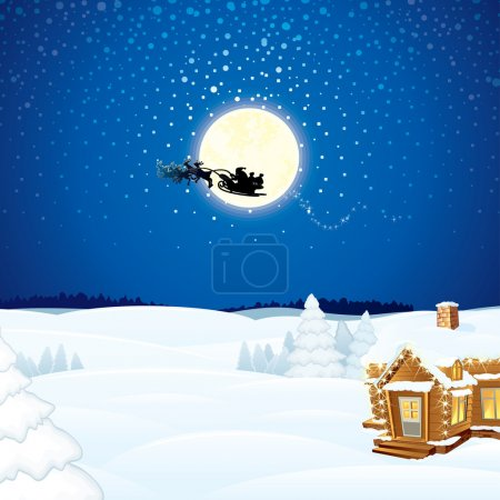 Illustration for Christmas Scene with Flying Santa Sleigh and his Reindeer - Royalty Free Image