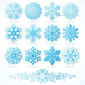 3D Vector Snowflakes Set of Festive Decorative