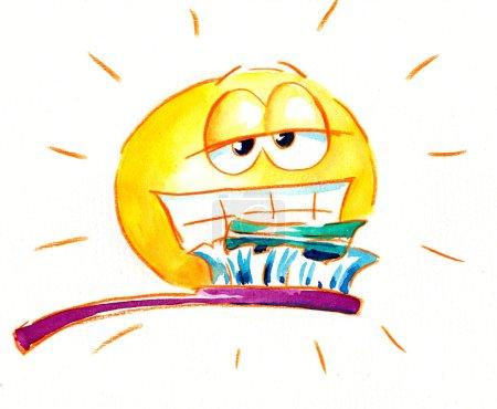 Photo pour Soleil avec brosse à dents. Image Je me suis peint avec des aquarelles . - image libre de droit