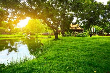 Photo pour Pré vert dans le parc et les arbres avec une rivière - image libre de droit