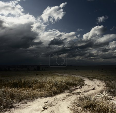 Photo pour Route rurale dans le champ avec des herbes sauvages et de sombres nuages de la tempête - image libre de droit