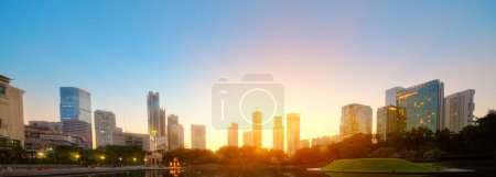 Photo for City skyline of the Kuala Lumpur at sunrise. Malaysia - Royalty Free Image