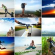 Collage with sport and travel theme. Hiking, cycli...