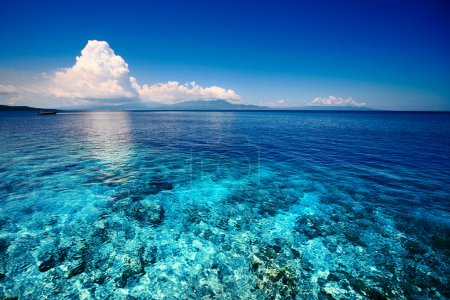 Photo pour Mer bleue peu profonde avec récif corallien et nuages duveteux à l'horizon - image libre de droit