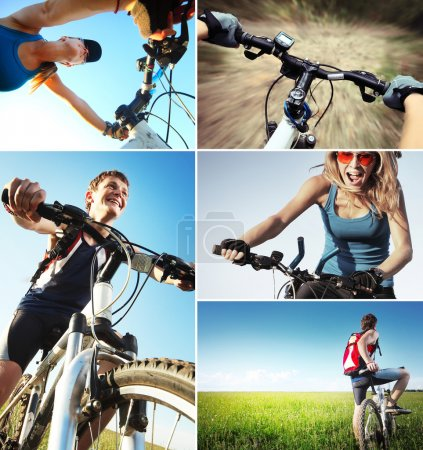 Photo for Set of a pictures with bicycle theme - Royalty Free Image