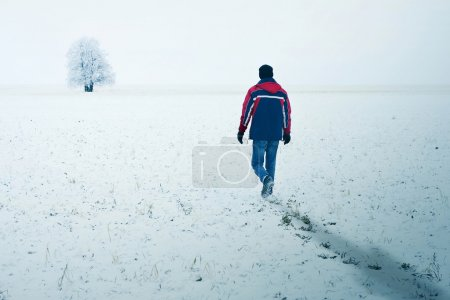 Photo for Alone man walking to alone tree - Royalty Free Image