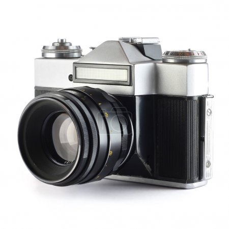 Photo for Old film camera with lens over white background - Royalty Free Image