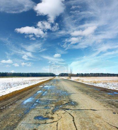 Photo for Wet spring asphalt road - Royalty Free Image
