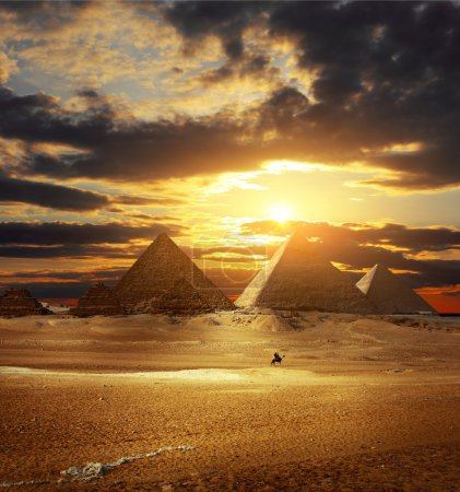 Sunset over Giza pyramids. Egypt...