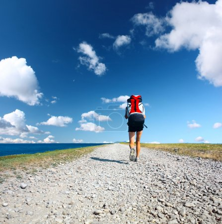 Photo for Backpacker walking on road under blue sky with clouds - Royalty Free Image