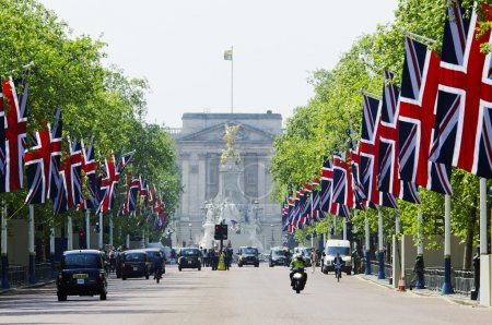 The Mall decorated with Union Jack flags, London, UK
