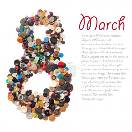 "8 March symbol - character ""eight"" made of buttons"