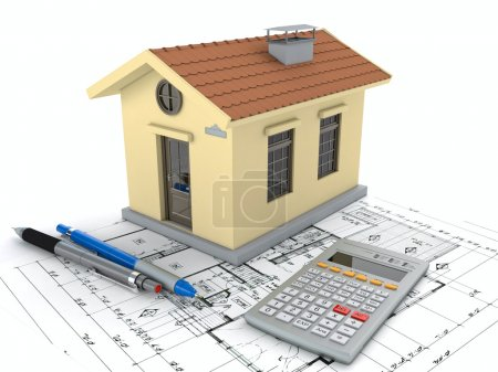Planning home: blueprint, pencil and calculator. 3...