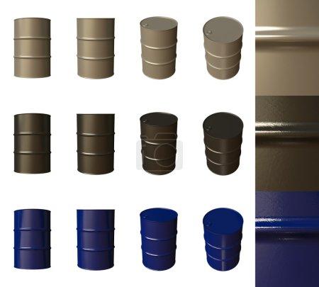 Photo pour Les barils sont isolés sur un fond blanc, différents angles de caméra et matériaux - image libre de droit