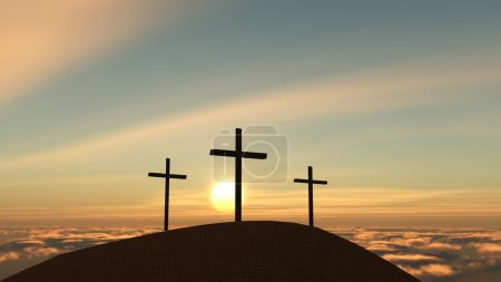Photo for Three crosses on a hill - Royalty Free Image