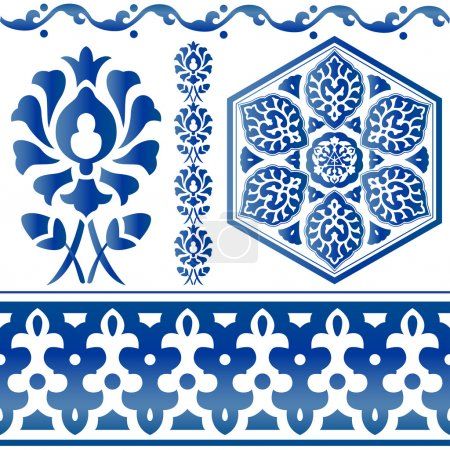 Illustration for Vector of blue Islamic design elements on white - Royalty Free Image