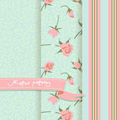 Set of 3 Country patterns with pink buds