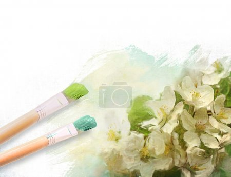 Photo for Artist brushes with a half finished painted floral canvas - Royalty Free Image