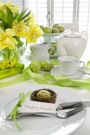 Place setting with card for easter brunch