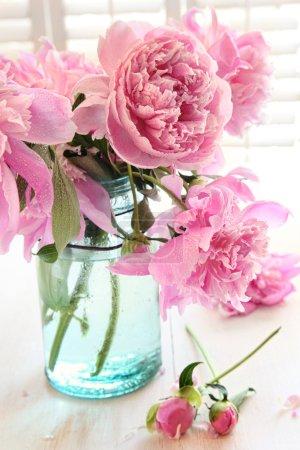 Photo pour Pivoines roses en pot de verre sur la table - image libre de droit