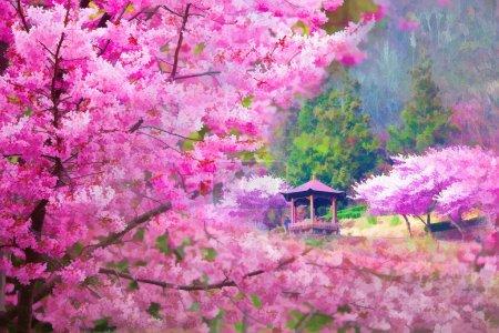 Photo pour Style de peinture de paysage avec belle fleur de sakura - image libre de droit