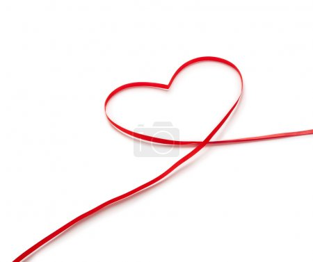 Red ribbon in heart shape