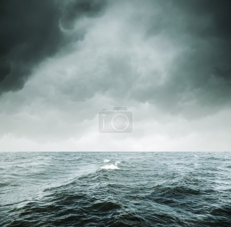 Photo for Heavy gale, selective focus on nearest wave - Royalty Free Image