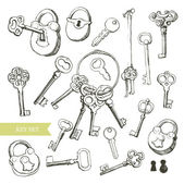 Key set: variety of hand drawn locks and keys