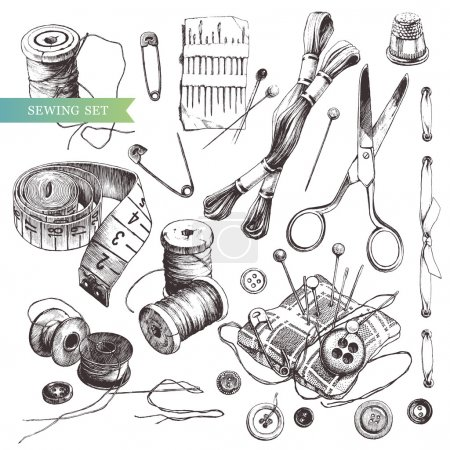 Photo for Sewing set: collection of highly detailed hand drawn sewing and knitting tools. - Royalty Free Image