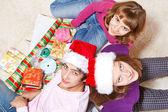 Teenagers making Christmas presents