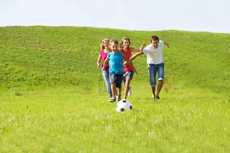 Parents and kids running