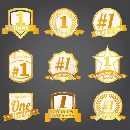Vector badges, certificates and seal icons. Number one.