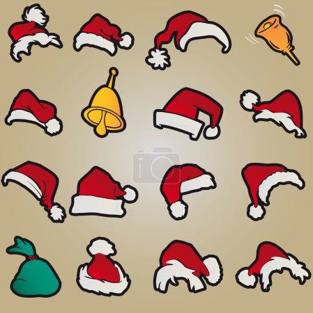 Set santa claus hats clothing christmas icons vector