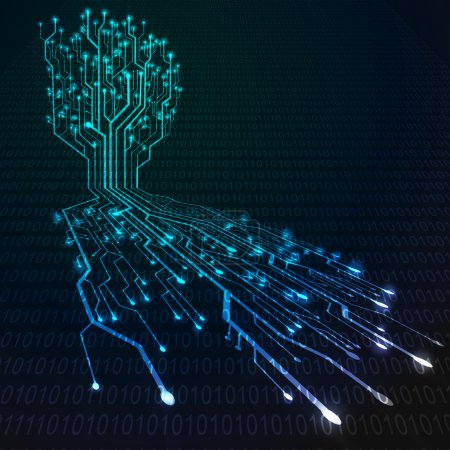 Photo for Circuit board in Tree and root shape, Technology background - Royalty Free Image