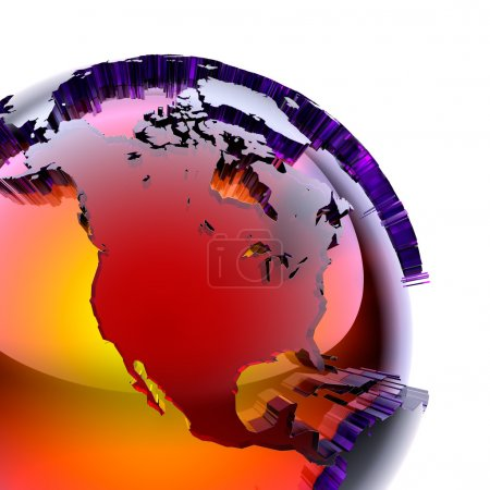 Globe of colored glass with an inner warm glow