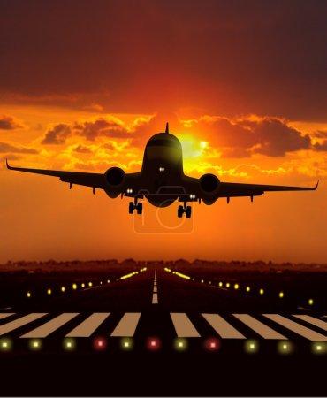 Airplane take off during sunset