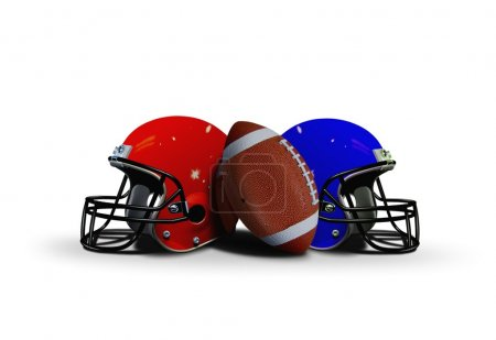 Football ball with two helmet