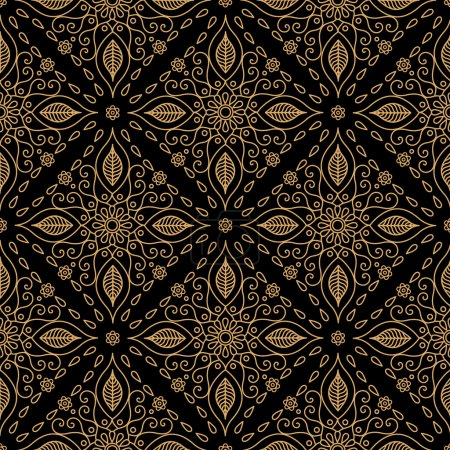 Illustration for Decorative flower pattern on a black background - Royalty Free Image