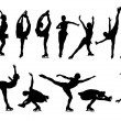 Outline of figures of figure skaters on a white ba...
