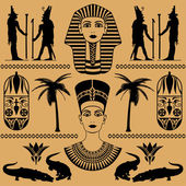 Elements of the Egyptian decorative patterns heads of Nefertiti and masks of pharaoh on a beige background