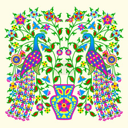 Illustration for Symmetric floral decorative pattern from two peacocks on a flowering tree and light background - Royalty Free Image