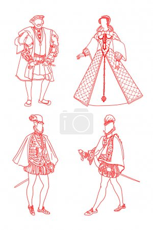 Illustration for Masculine and womanish Spanish suits of epoch renaissance XVI ages on a white background - Royalty Free Image