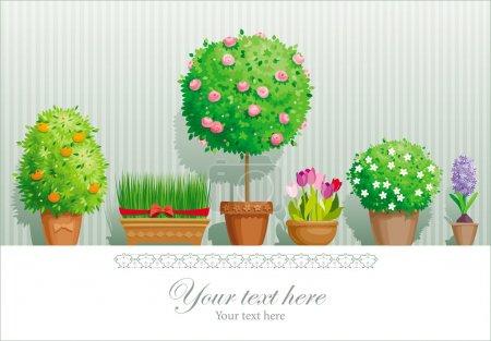 Illustration pour Carte de souhaits vintage avec la collection de plantes pot - image libre de droit