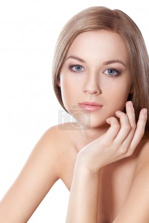 Beautyful woman face with hand
