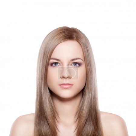 Blue eyed blond-brown woman face