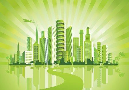 Photo pour Green City. Fond urbain. Environnement . - image libre de droit