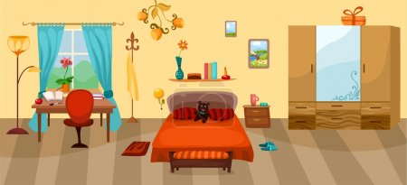 Illustration for Vector illustration of a bedroom - Royalty Free Image