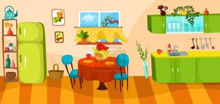 Illustration for Vector illustration of a kitchen - Royalty Free Image