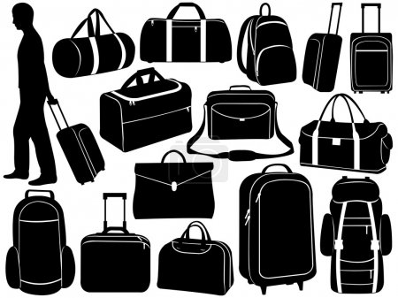 Illustration for Different bags set isolated on white - Royalty Free Image
