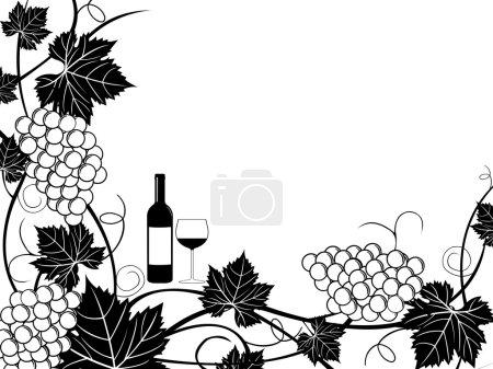 Illustration pour Illustration de cadre de raisin isolé sur blanc - image libre de droit